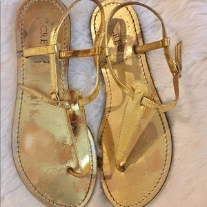 ✨ J. Crew gold thong sandal ✨